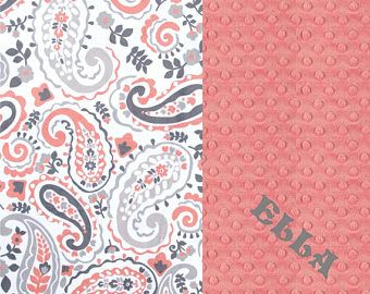 Personalized Baby Blanket / Minky Baby Blanket Girl, Gray Coral Paisley - Nursery Decor Girl // Coral Baby Blanket // Name Baby Blanket