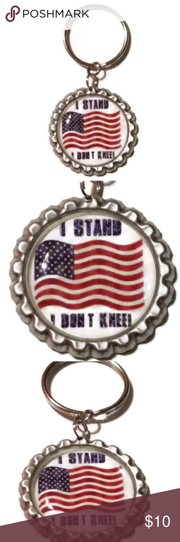 I Stand for the Flag Key Chain Purse Charm I Stand for the Flag, I Don't Kneel National Anthem Keychain, I Stand for the National Anthem, USA Keychain, American Flag Keychain, Gift  1 inch silver color flattened bottle cap with a keyring attached. Accessories Key & Card Holders