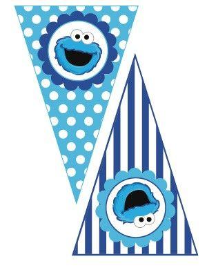cookie monster free printable banner | Cookie Monster Sesame Street- Printable Banner Pennants
