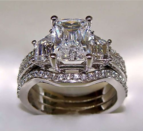 3.10Ct Radiant Cut Engagement Ring with 2 Matching Wedding Bands 14K Solid Gold in Jewelry & Watches, Engagement & Wedding, Engagement Rings | eBay