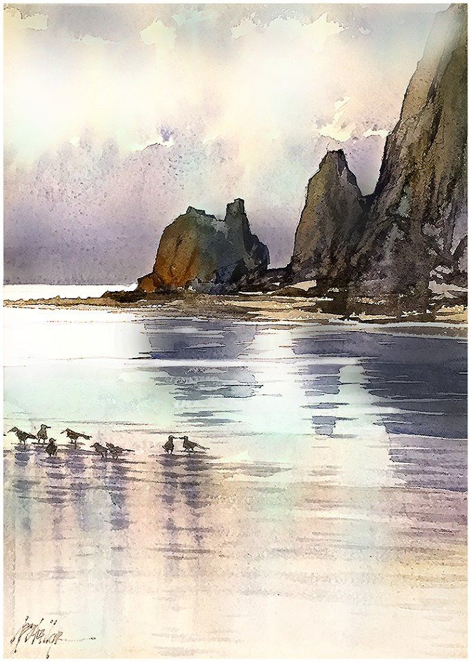 """Morning; Cannon Beach - Oregon"" Thomas W Schaller - Watercolor Sketch. 18x12 - 14 July 2015"