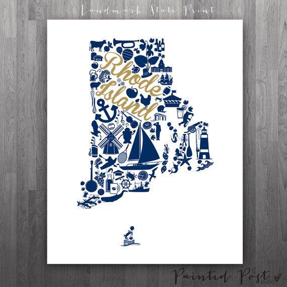 Kingston Rhode Island Landmark State Glicée Print  by PaintedPost, $15.00 #paintedpoststudio - University of Rhode Island - Rams. What a great gift Idea! Perfect dorm decor!