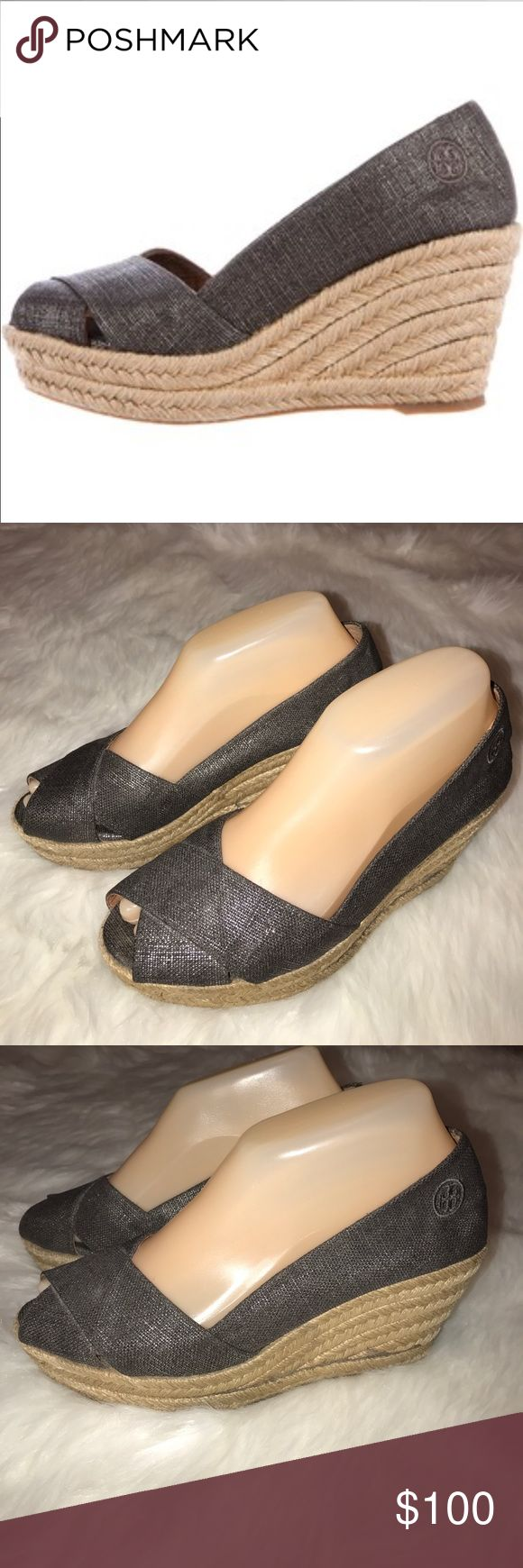 Tory Burch Metallic Espadrilles Peak Toes Wedges 8 • Gently used • Size 8 • One small area on the inside of the shoe that's frayed...  Shown in last photo • Tory Burch Shoes Wedges
