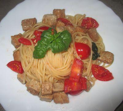FORNELLI IN FIAMME: SPAGHETTI OF KAMUT WITH FRESH TUNA AND TOMATOES - Spaghetti al kamut con tonno e pomodori freschi