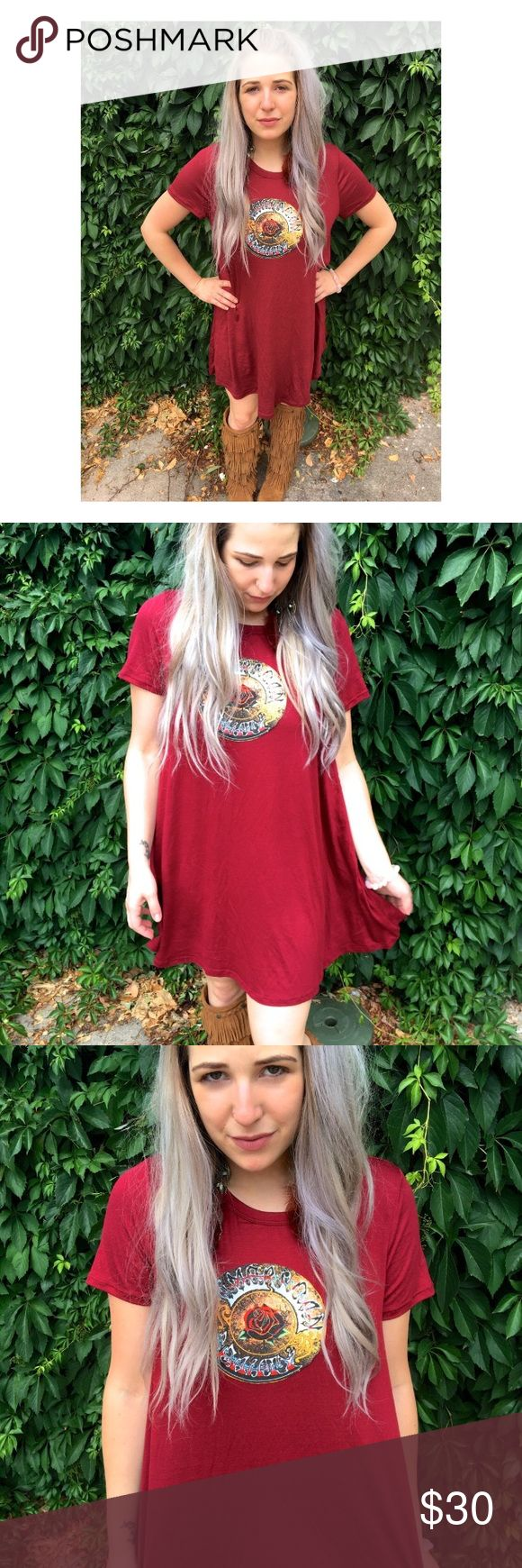 Phunky Boho: upcycled Grateful Dead t shirt dress Super soft and lightweight maroon t-shirt dress. Features Grateful Dead American Beauty appliqué on front. Super cute belted or worn with leggings! Sizing: Recommended for sizes XS - M best Model is a size small for fit reference. Handmade with love <3 Not intended to be perfect or look machine made. Only one available! Stone Cold Fox Dresses Midi