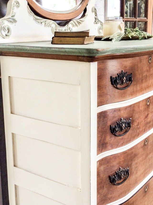 White Natural Wood Furniture Makeovers Our Dirt Road Home Natural Wood Furniture Wood Dresser Diy Cherry Wood Furniture White and natural wood dresser