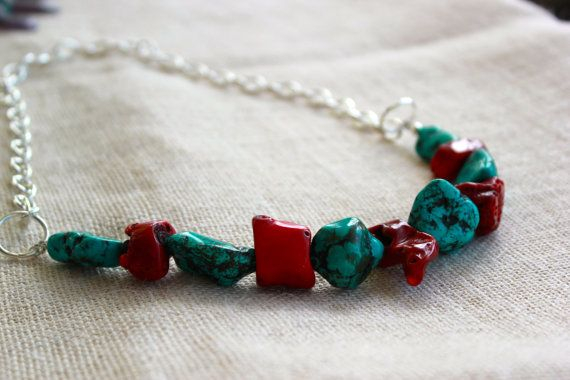 Coral and Turquoise howlite Necklace by SoulHealingCreations