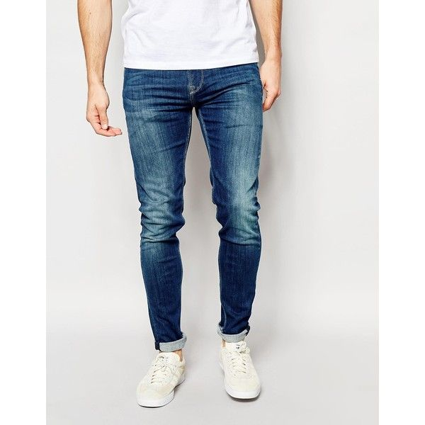 Pepe Jeans Nickle Skinny Jean in Powerflec Used ($146) ❤ liked on Polyvore featuring men's fashion, men's clothing, men's jeans and blue