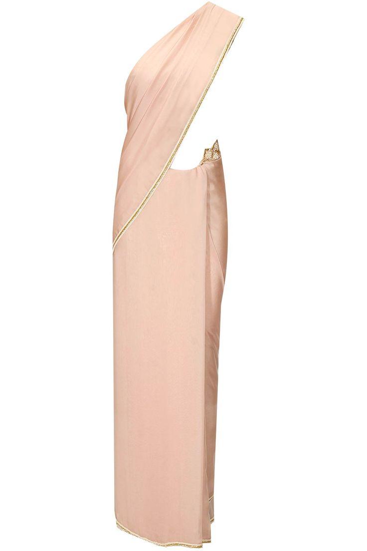 Pale pink cutdana work sari with embroidered blouse by Zoraya. Shop now: http://www.perniaspopupshop.com/designers/zoraya-by-dipti-a-sawardekar #sari #zoraya #shopnow #perniaspopupshop