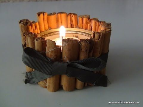 Portavelas navideño con una lata de atún y canela - Candle holder recycl...