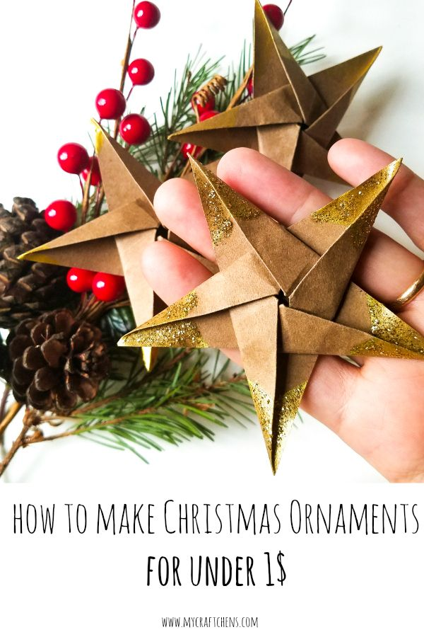 cheap and easy DIY Christmas Ornaments: Origami Stars made out of brown paper bags