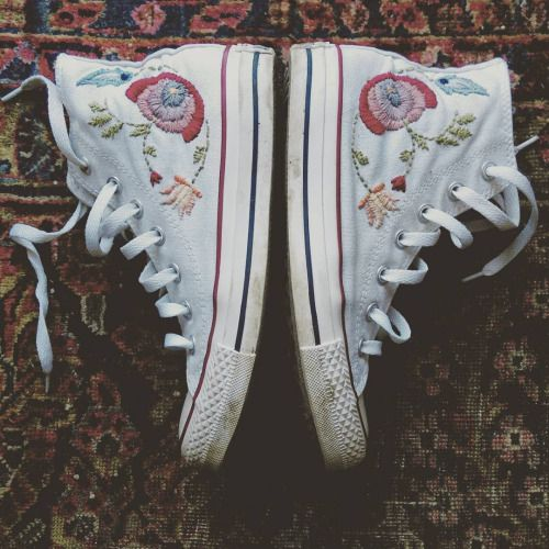 A Stitch In Time • wethinkwedream: I hand embroidered my converse...