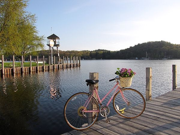 Basket of Lilacs ~ With a basket of fresh Lilacs, the Pink Bike tours Snug Harbor Marina in the Village of Pentwater Michigan USA