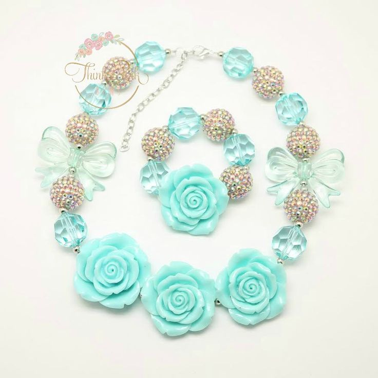 Aqua Bow Bubblegum Necklace and Bracelet – Think Pink Bows