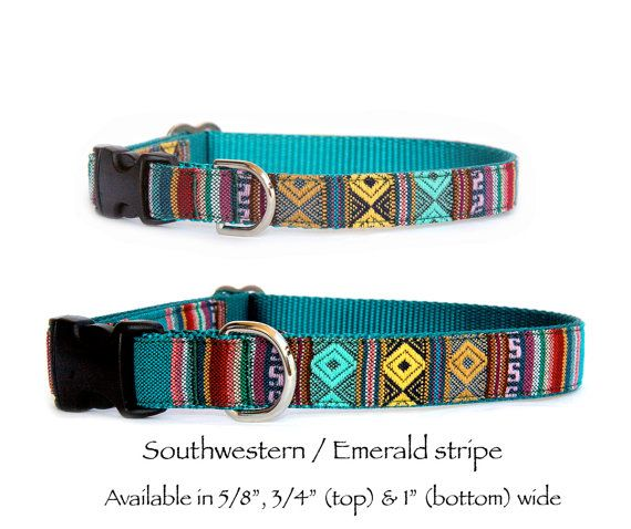 Southwestern emerald stripe dog collar & dog leash Emerald green, yellow, rusty red aztec diamond pattern & stripe yarn dyed woven fabric is sewn on durable and flexible matching colored nylon webbing. Unique, sophisticated and trendy Navajo, tribal, Mexican, Aztec influenced pet collar is perfect for both boy and girl dogs.  *Item Southwestern dog collar. $23.00 Leash and harness are no longer available.  * Size choices for Southwestern pet collar X-Small dog collar ............ 5/8 wide…