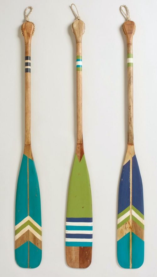 Decorative Oars for the Wall: http://www.completely-coastal.com/2016/03/decorative-oars.html Ad-oar-able oars, painted in all kinds of ways.