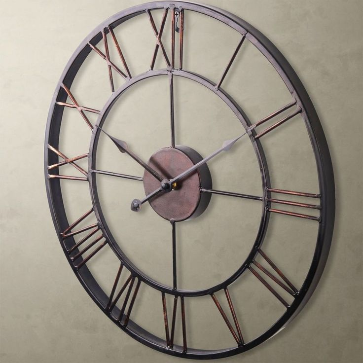 details about hottest extra large vintage statement metal wall clock country style home decor