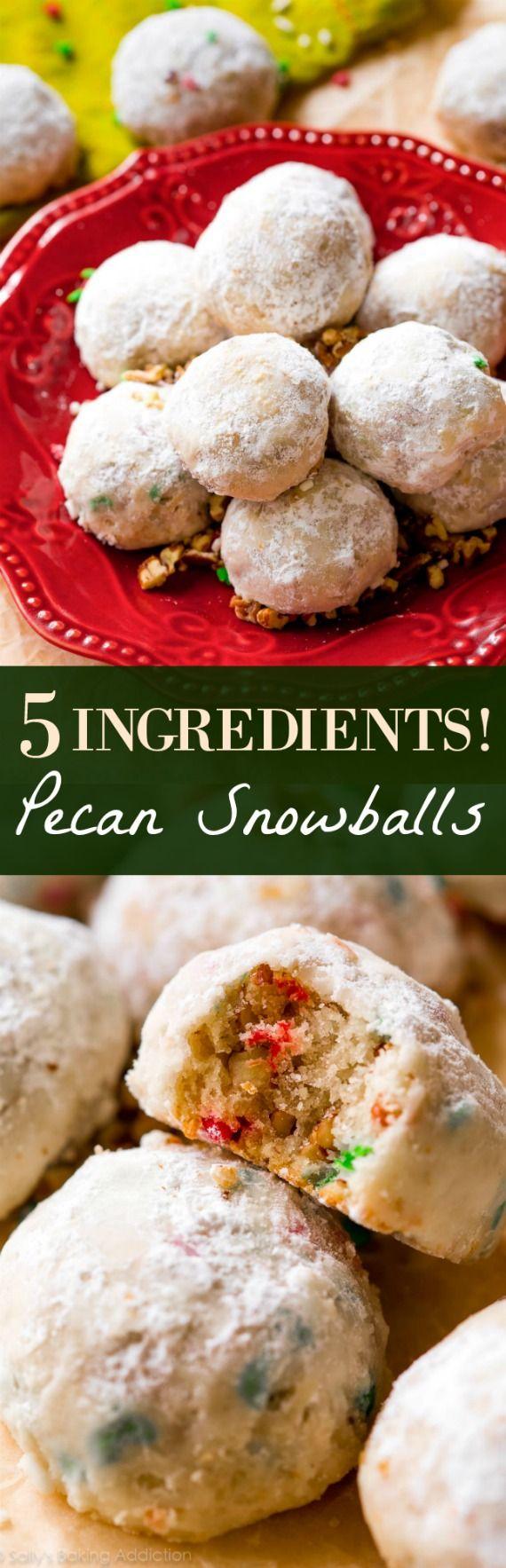 1 bowl pecan snowball cookies! Recipe on sallysbakingaddiction.com
