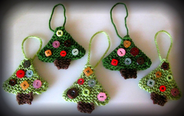 Christmas Tree Ornaments - Hand Knitted - Button Accents - Holiday Decorations - Small Gift Idea. $15.00, via Etsy.
