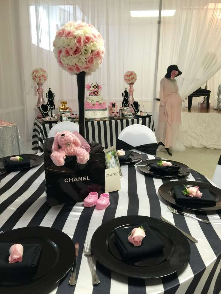 Black And Pink Baby Shower Part - 20: Chanel Baby Shower Party Ideas