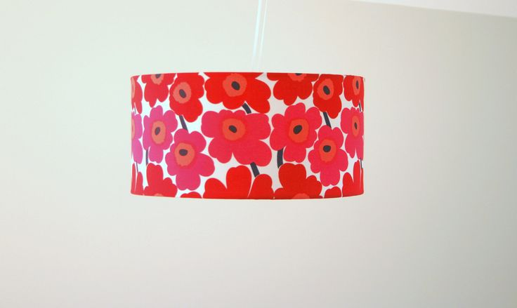 Marimekko fabric lampshade - large ceiling, table or floor lampshade -  40 x 20 Pieni Unikko design red flowers by MadeInFabric on Etsy https://www.etsy.com/listing/234950661/marimekko-fabric-lampshade-large-ceiling