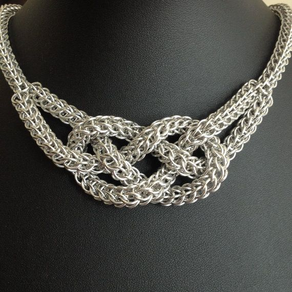 Chainmaille Sailors Knot Necklace Knotted by VictoriaxSol on Etsy