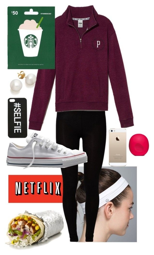"""common white girl tag in description"" by prepbyprep ❤ liked on Polyvore featuring Majestic, Converse, Victoria's Secret PINK, Eos and country"