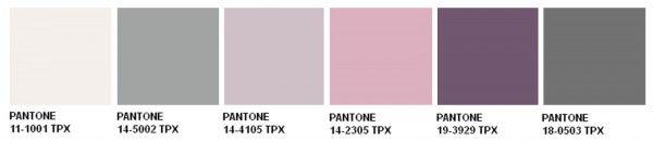 Ecco la palette con le tinte proposte da Pantone. Si va dal grigio chiaro, al lilla freddo, passando per una serie di tinte violacee al grigio più scuro. Ottima scelta per una casa moderna e per chi non ama i colori troppo forti e decisi.