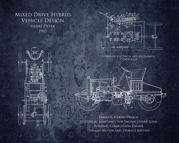 94 best blueprints images on pinterest blueprint art art print early 1900s design for mixed drive hybrid vehicle by henri pieper art print by sara h malvernweather Choice Image