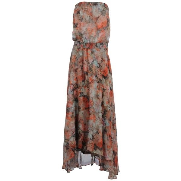 HAUTE HIPPIE Long dress (375 AUD) ❤ liked on Polyvore featuring dresses, vestidos, coral, maxi dress, long dresses, sleeveless maxi dress, sleeveless floral dress, flower print dress and floral dresses