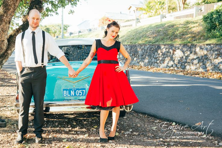 Vintage 50's wedding theme, Rockabilly weddings. Rocakabilly and vintage engagement photographers. Empire art photography
