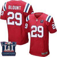 Men's New England Patriots #29 LeGarrette Blount Red Alternate Super Bowl LI Champions Nen Elite Jersey