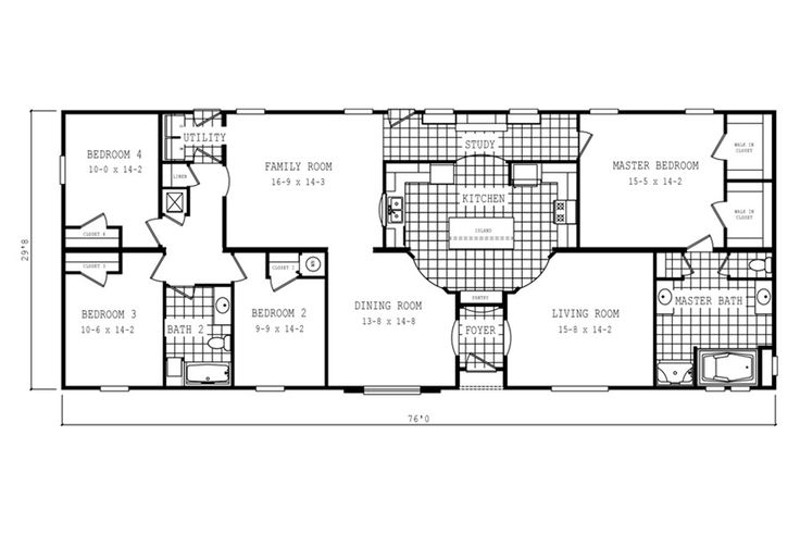 Floorplan 2061 76x32 Ck3 2 Oakwood 58cla32764hh