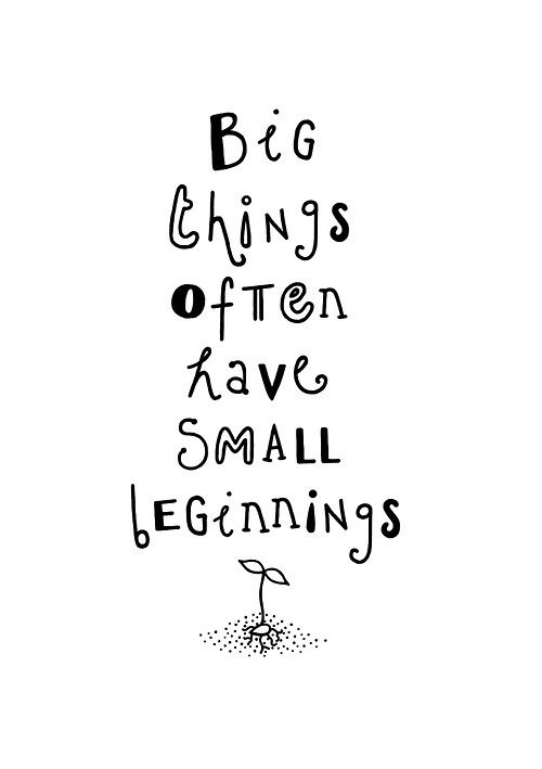 Inspirational quotes. Quotes about learning. Big things often have a small beginning.