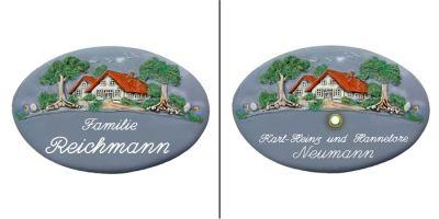 Türschild-Namensschild  Haus-Villa blau-grau in den Abmessungen 28x18cm. Auf Wunschist das Schild mit einem Messing Klingelknopf erhältlich. Wunchtext für die Gravur ist frei wählbar.