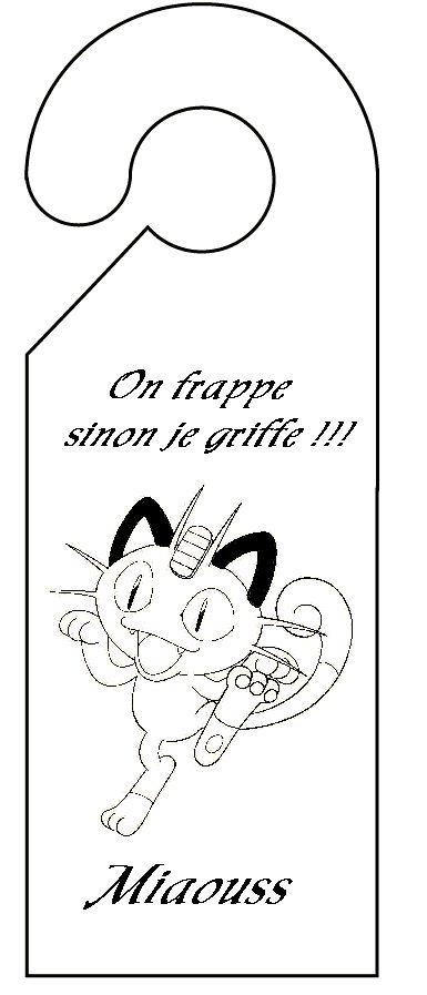 pancarte de porte pokemon miaouss
