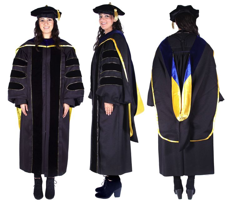 Premium Black Complete Doctoral Regalia | Premium Black PhD Gowns ...