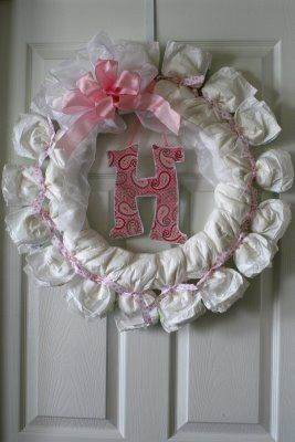 Best 25 baby wreaths ideas on pinterest diaper wreath for Baby shower door decoration