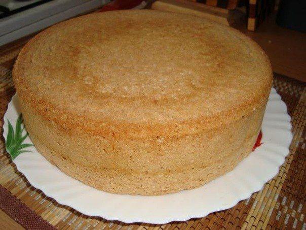 """Бисквит для торта """"Проще не бывает.""""  1 стак. сахара 3 яйца  Взбить миксером, миксер отставить и ложкой добавить 1 стак. муки, размешивая только в одном направлении от края к центру. Можно в муку добавить 0.5 ч.л. разрыхлителя. Испечь бисквит."""