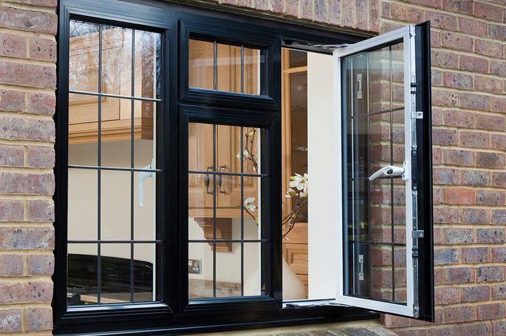 Casement windows aluminium outside view of an open black for Buy casement windows