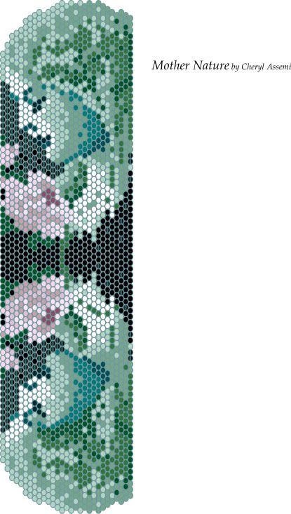 Free Bead Pattern - Mother Nature by Cheryl Assemi - Peyote Stitch Beadwork  #heartbeadwork