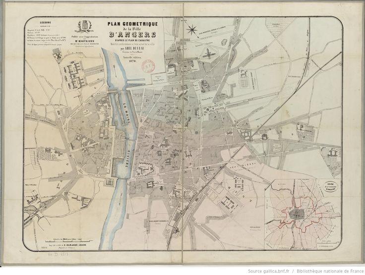 Plan géométrique de la ville d'Angers, d'après le plan du cadastre, modifié conformément à l'état actuel de la ville (Nouvelle édition) / par Abel Duveau, conducteur des ponts et chaussées 1870