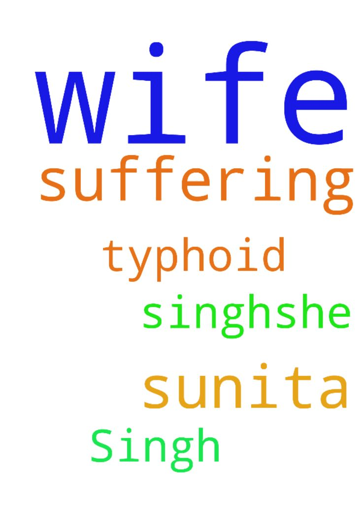Prayer for my wife Sunita Singh.She is suffering from - Prayer for my wife Sunita Singh.She is suffering from Typhoid. Posted at: https://prayerrequest.com/t/Tdz #pray #prayer #request #prayerrequest