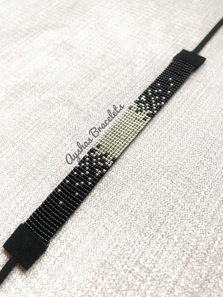 Schwarz und Silber Miyuki Armband / Perlen Armband / minimalistischen Stil / Miyuki Perlen Armband / Miyuki Delica   – Ayshas Bracelets
