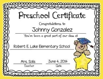 This set includes an 39 editable preschool kindergarten for 6th grade graduation certificate template