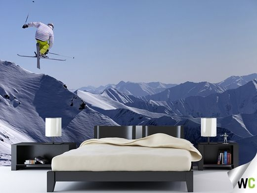 Wall mural of a skier in action