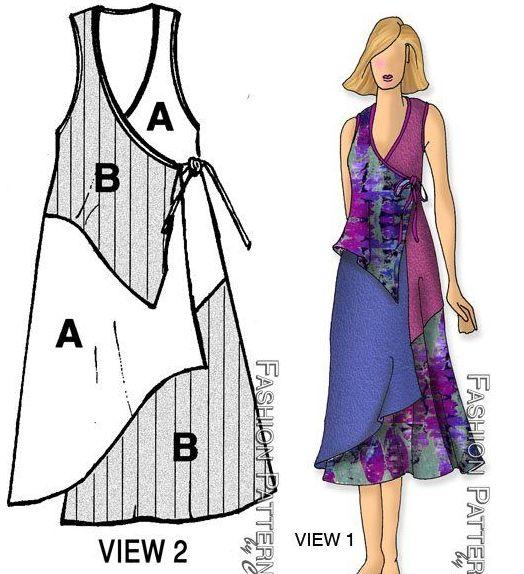 Pieced side tied swing dress