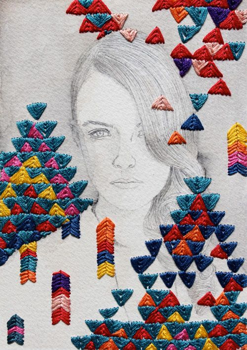 Izziyana Suhaimi's embroidered illustrations are so cool