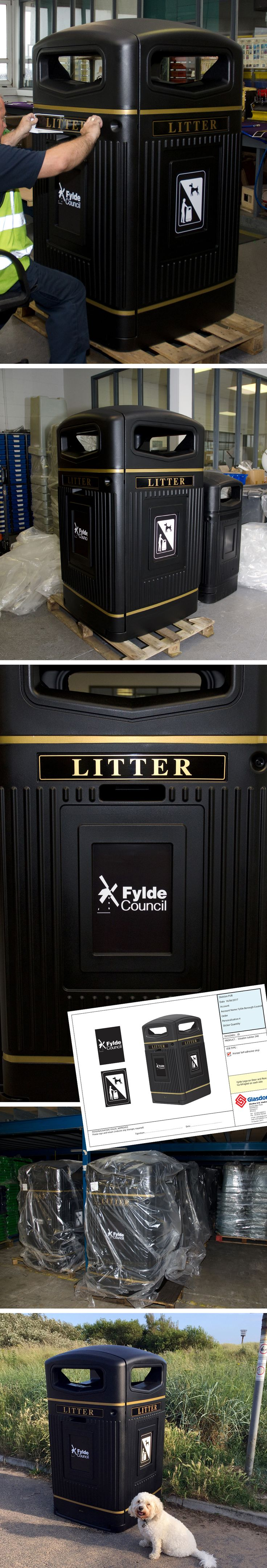 The Glasdon Jubilee™ 240 wheelie bin housing personalised for Fylde Council. This bin houses a standard 240 litre wheelie bin or 300 litre sack (with sack retention system) to collect more litter/waste which will reduce collection costs.