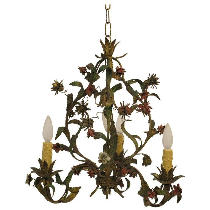 French Tole Floral Chandelier
